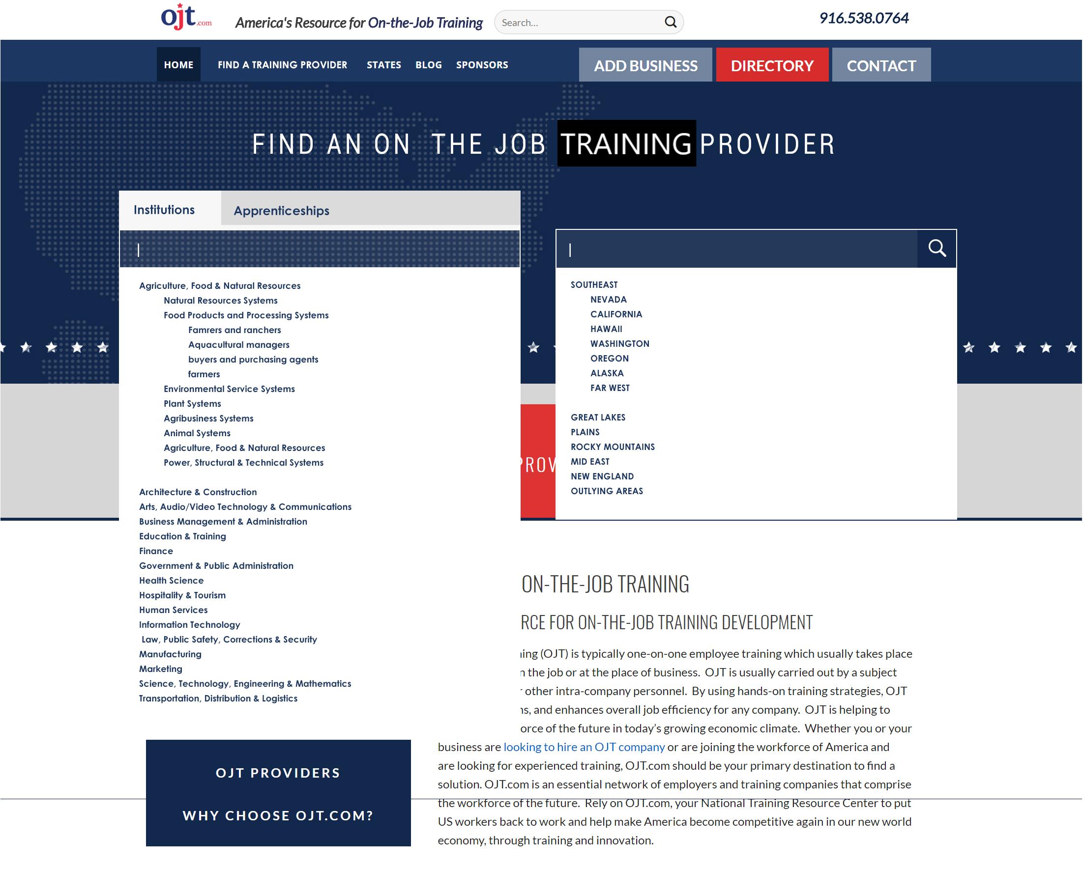 OJT.com, Lookup Directory Mockup