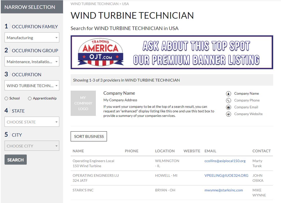 search result for wind turbine technician