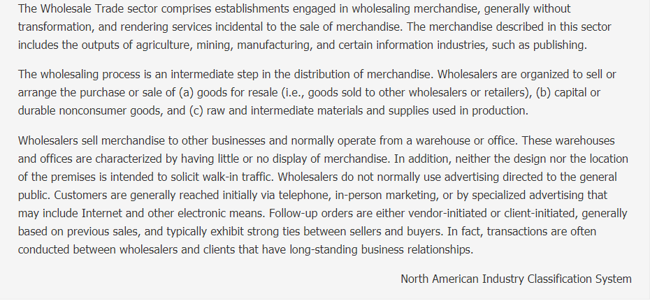 Wholesale Trade Description