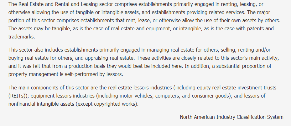 Real Estate and Rental and Leasing Description