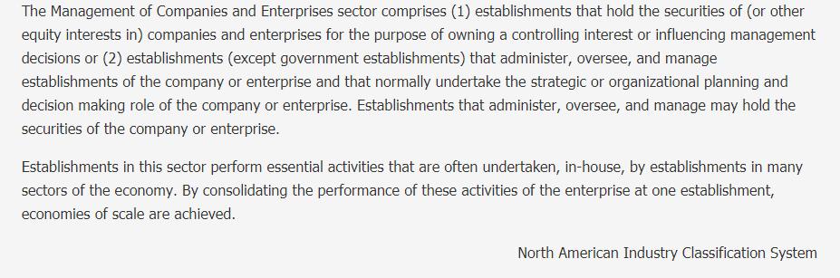 Management of Companies and Enterprises Description