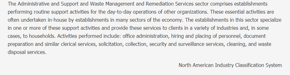 Administrative and Support and Waste Management and Remediation Services Description